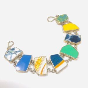 Vintage sterling, inlaid multi-gemstone bracelet